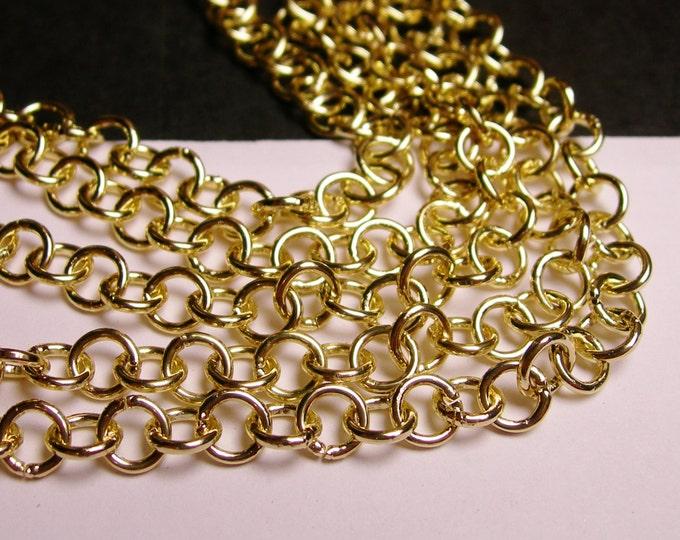 Gold chain - lead free nickel free won't tarnish - 1 meter - 3.3 feet - aluminum chain  -  NTAC4