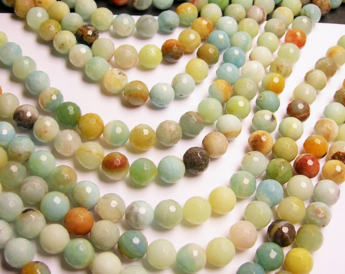 Amazonite - 10 mm faceted round beads -1 full strand - 40 beads - RFG166