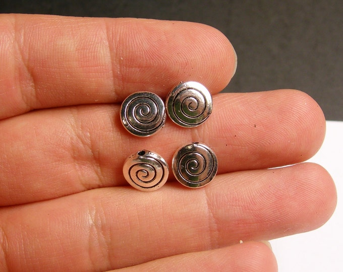 24 round spiral engraved silver beads - 24 pcs  -  ASA74