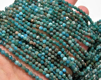 Apatite - 3.5mm faceted round beads - full strand  110 beads - micro facted Blue Apatite - PG210