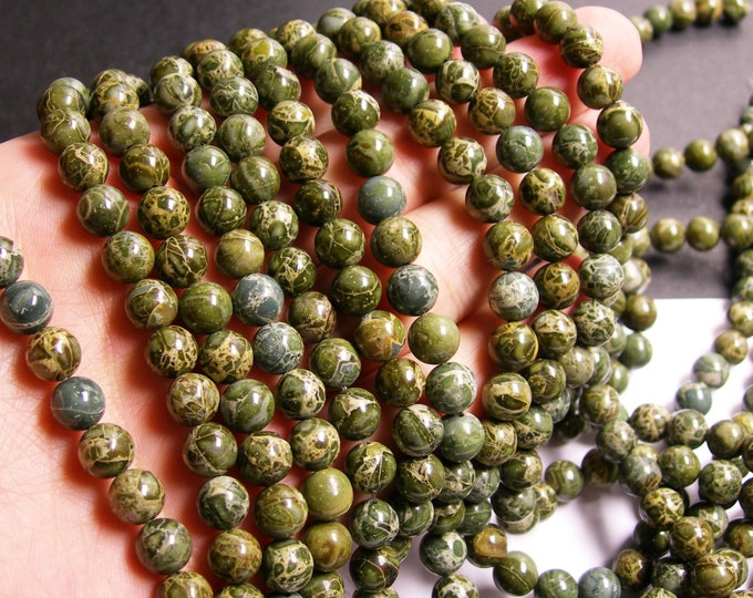 Green Brecciated jasper - 8 mm round beads - full strand - 49 beads - A Quality - RFG328