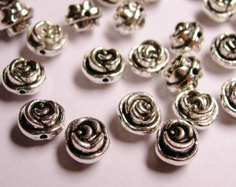 24 flower silver beads -  rose flower antique silver beads -  ASA68