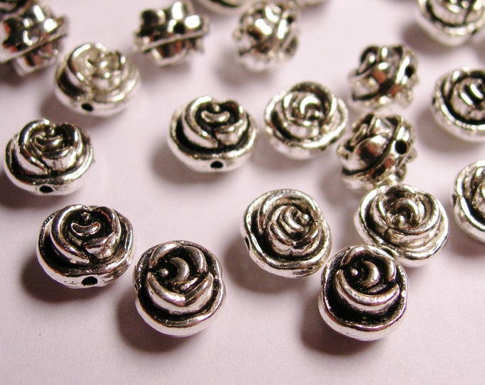 24 flower silver beads -  rose flower antique silver beads -  ASA68