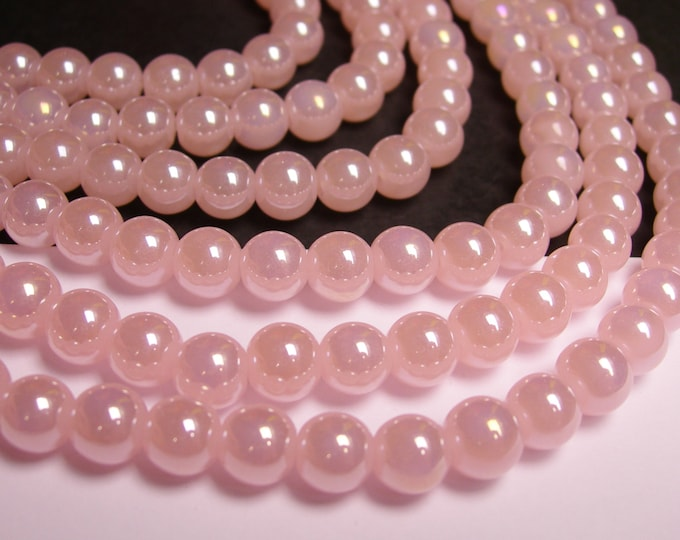 Crystal - round - 8 mm - Pink - full strand - 40 beads - RC1A