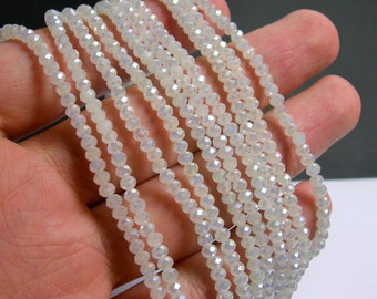Crystal - rondelle faceted 3.5mm x 2.5mm beads - 135 beads - White AB - full strand - MAC11