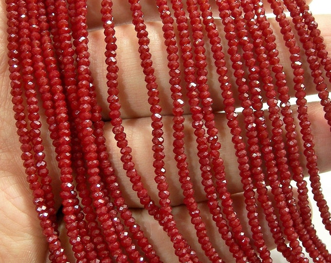 Crystal - rondelle  faceted 1mm x  2mm beads - 195 beads - Dark Red opaque  - full strand - VSC54