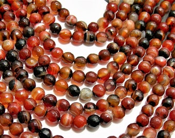 Fire Agate beads  - 8mm faceted  round beads - full strand - 47 beads - RFG1489