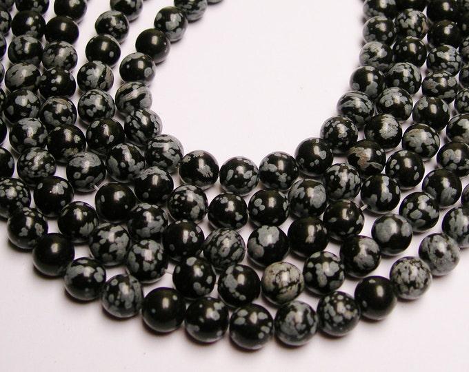 Snowflake Obsidian 8 mm - 48 beads per strand - full strand - A quality - RFG759