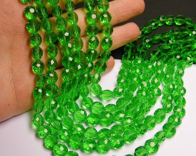 Crystal faceted oval round - 50pcs -  9 mm - AA quality - peridot green color - 18 inch strand