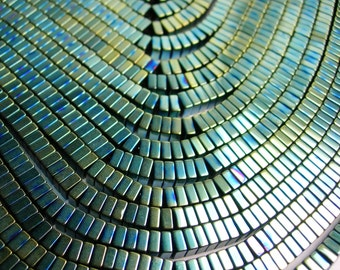 Hematite mystic aqua green - 4x2mm heishi square slice beads - full strand - 190 beads - A quality  - PHG101