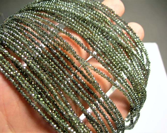 Crystal - rondelle  faceted 1mm x  2mm beads - 197 beads - mystic green ab - full strand - VSC10