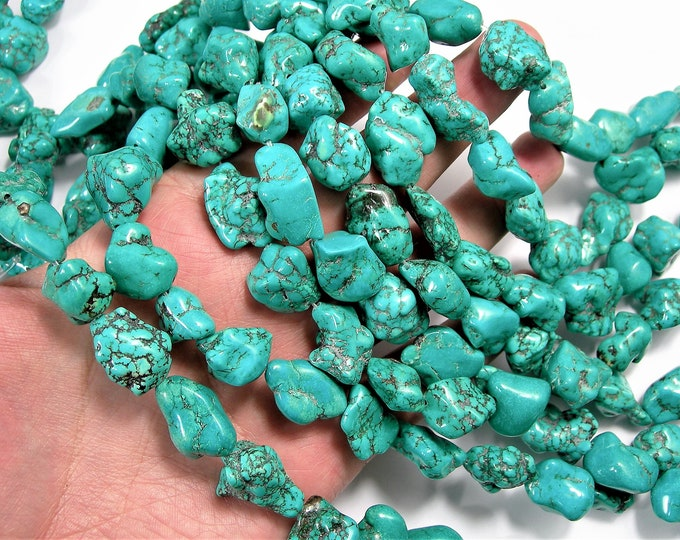 Turquoise howlite Gemstone - nugget - full strand - A quality - 15mm -20 mm - 21 beads - big nugget  -  PSC421