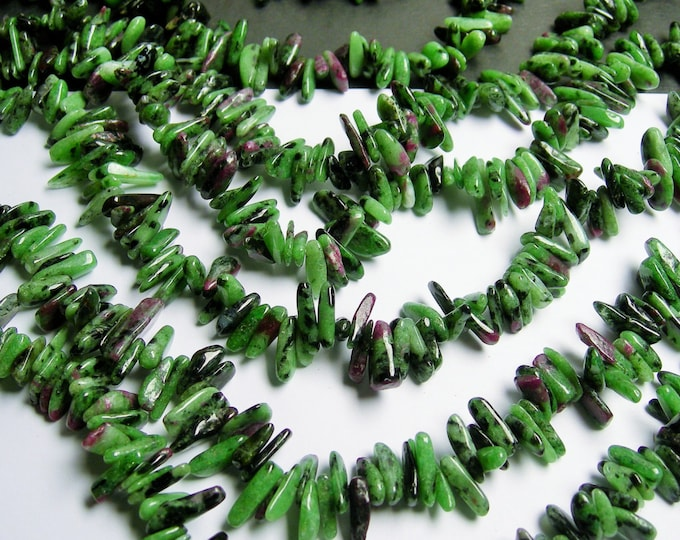 Ruby zoisite stick beads - full strand -  130 beads - A quality - PSC14