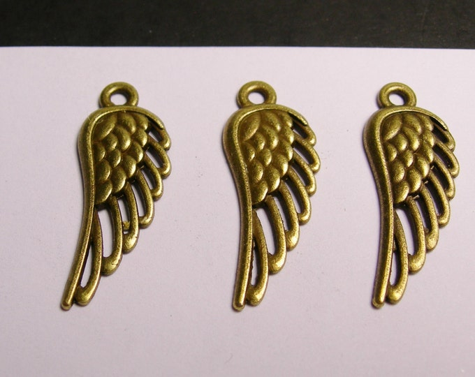 Wings charms - 24 pcs - brass color -  Hypoallergenic - brass wings charms,BAZ6