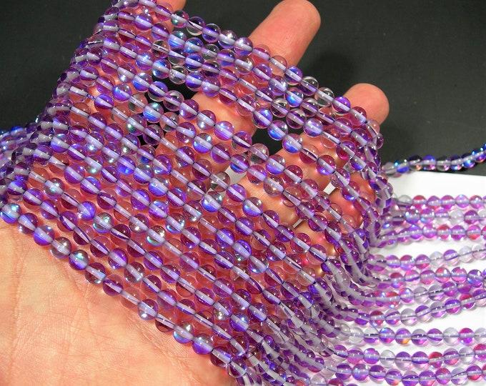 Purple Mystic aura quartz - 6mm round - Holographic quartz - 64 Beads - full strand - RFG1919