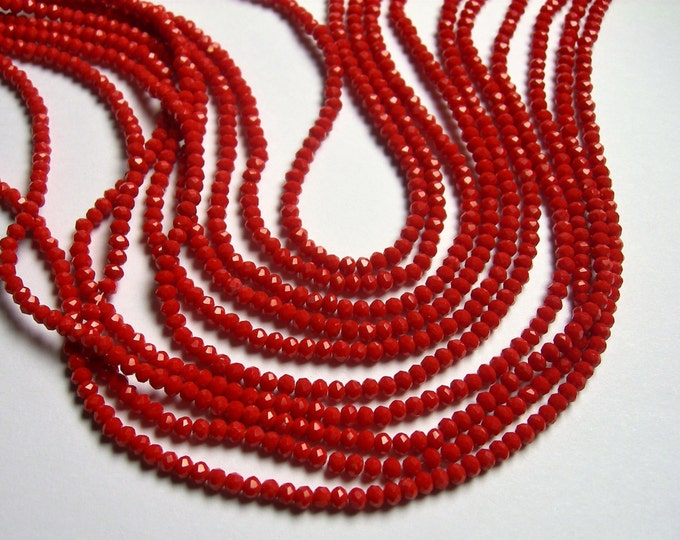Crystal faceted rondelle - 3.5mmx2.5mm - Coral red - 147 pcs - full strand - CRV154
