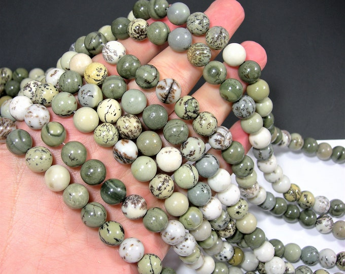 Dendritic jasper - 10mm(10.3mm) round beads - full strand - Pine tree Dendritic jasper - 38 beads - RFG1933
