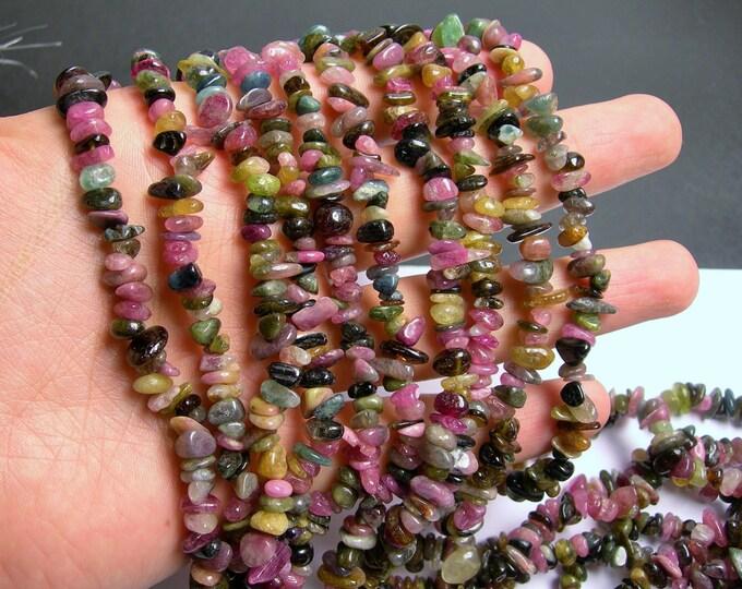 Tourmaline gemstone - chip stone - 36 inch  strand - genuine tourmaline - PSC9