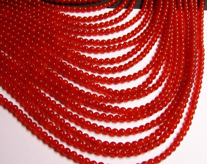 Carnelian gemstone 4mm round -  full strand - 96 pcs - A quality - RFG257