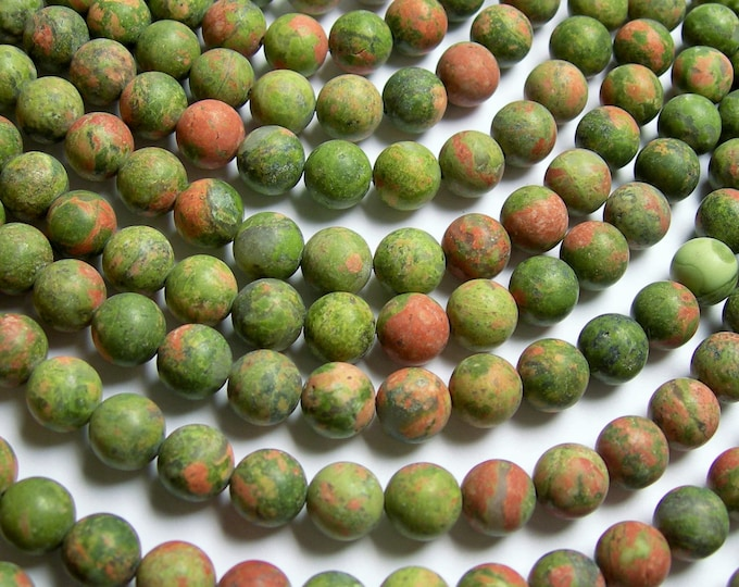 Unakite - 8 mm round beads - Matte - 1 full strand - 48 beads - AA quality - matte unakite - WHOLESALE DEAL - RFG855