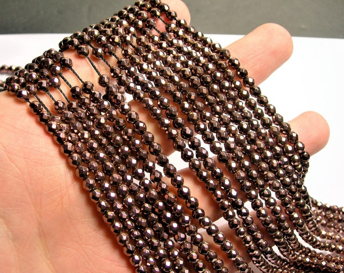 Hematite dark bronze - 4 mm faceted round beads - full strand - 99 beads - AA quality - RFG1426