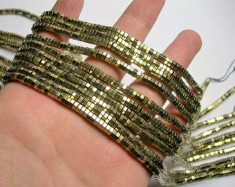 Hematite Gold - 2mmX 4mm hexagon heishi slice  beads - full strand - 200 beads - AA quality  - PHG268