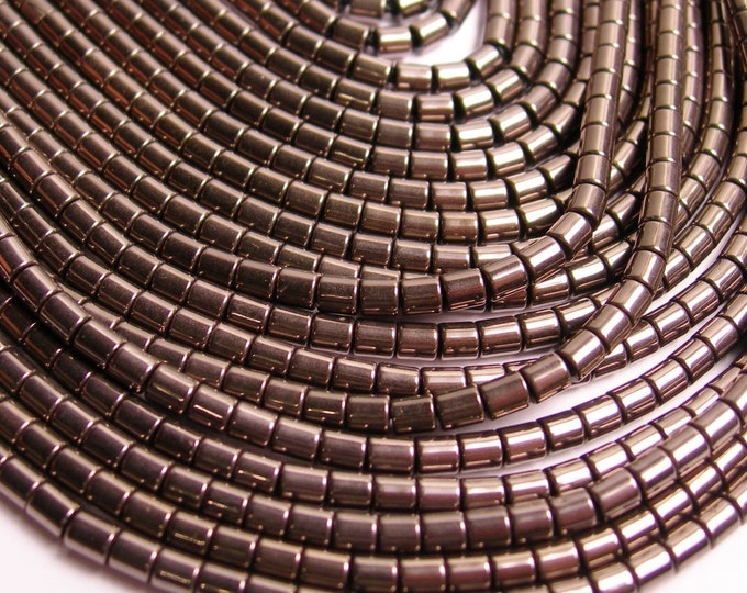 Hematite charcoal - 3mm tube beads - full strand - 130 beads - AA quality - 3x3 - PHG74