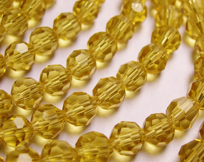 Crystal - round faceted 6mm beads - 72 beads - AA quality - yellow topaz color - Full strand