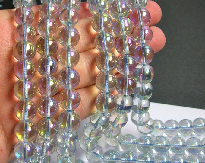 Crystal - round - 12 mm - Light  aqua mystic aurora  - full strand - 34 beads - CRV20