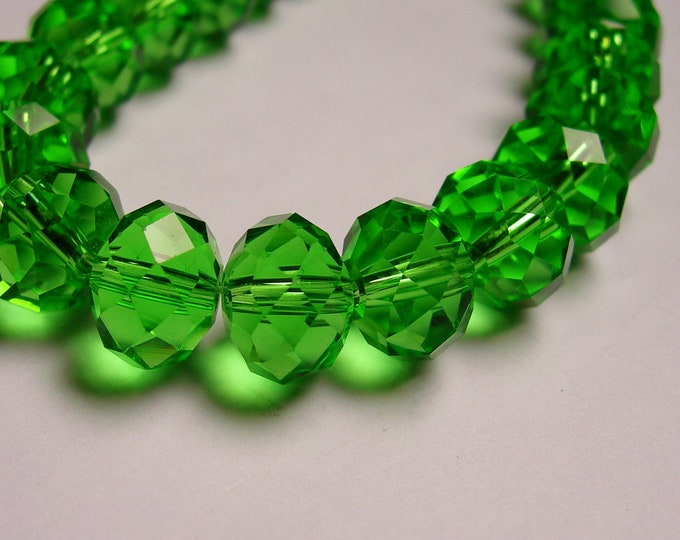 Crystal faceted rondelle -  20 pcs - 12mm by 9mm - AA quality - emerald green