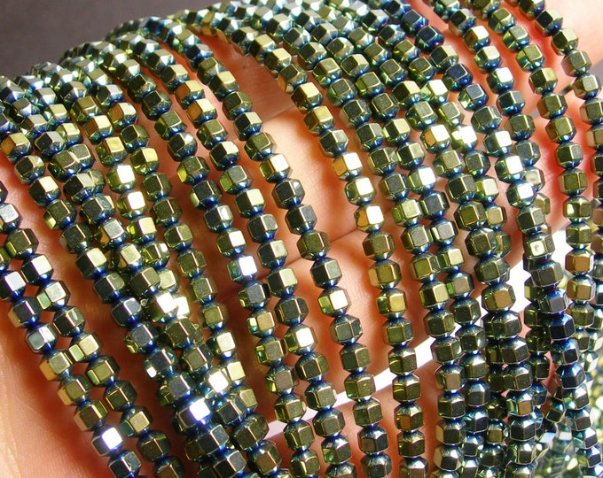 Hematite green - 4 mm faceted hexagon  beads -1 full strand -98 beads - AA quality - PHG37