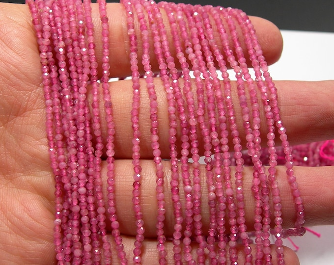 Pink Tourmaline - 2mm(1.9mm) micro faceted beads -  full strand - 208 beads - A Quality - PG218