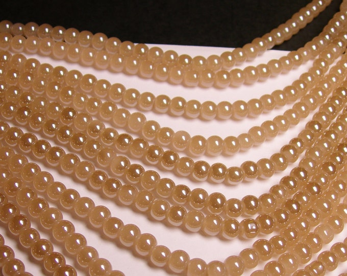 Crystal - round - 6mm - beige - full strand - 48 beads - pearlized - N2A