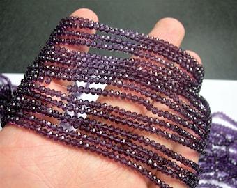 Crystal - rondelle faceted 3.5mm x 2.5mm - 145 beads - Dark amethyst purple - full strand - CRV163