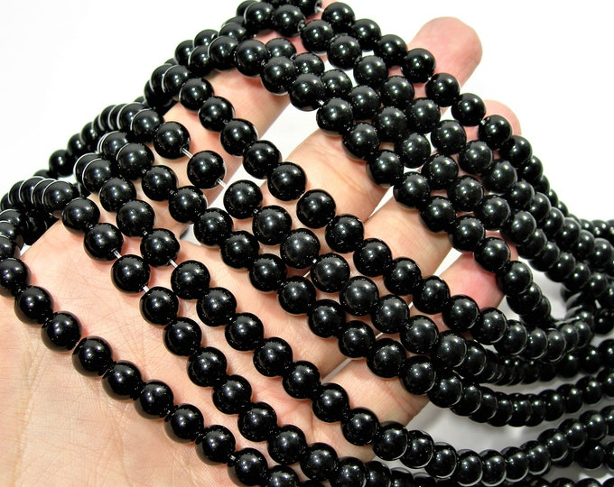 Black Crystal glass  - 50 pcs - 8 mm - AA quality - full strand - black onyx substitute - RFG1806