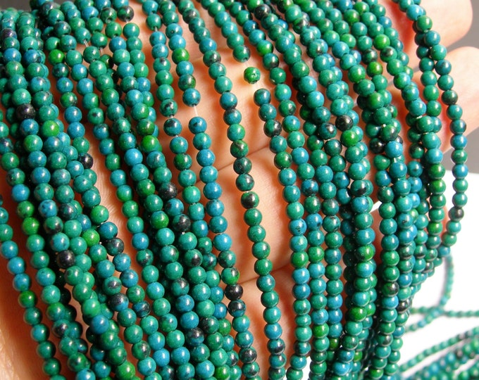 Chrysocolla - 3mm round beads -1 full strand 136 beads - reconstituted - WHOLESALE DEAL