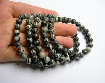 Silk Stone - 8mm round beads - 23 beads - 1 set - Spider Jasper - A quality - HSG38