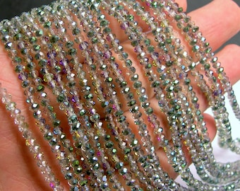 Crystal - rondelle faceted 3.5mm x 2.5mm - 147 beads - watermelon sparkle - full strand - AA quality - MAC33