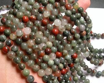 African bloodstone - 8mm round beads - full strand - 48 beads - Seftonite - RFG10