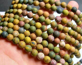 Ocean Jasper matte - 8mm round - 1 full strand - Matte - 48 beads - A quality - RFG867
