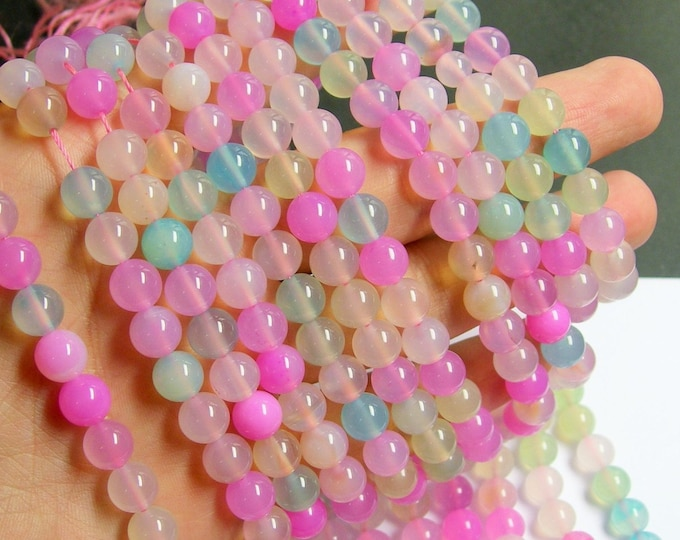 Agate multi color - 8 mm round beads - full strand - pastel  mix -  49 beads - RFG534