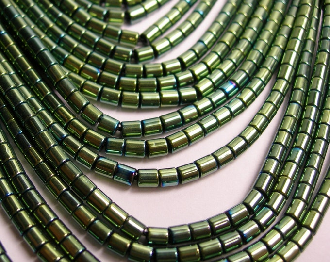 Hematite mystic aqua green - 3mm tube beads - full strand - 130 beads - AA quality - 3x3 - PHG76