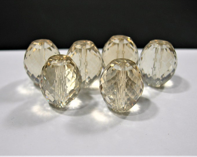 Crystal faceted  barrel - 6 pcs - 13mm x11mm - AA quality - light champagne  - BCR14