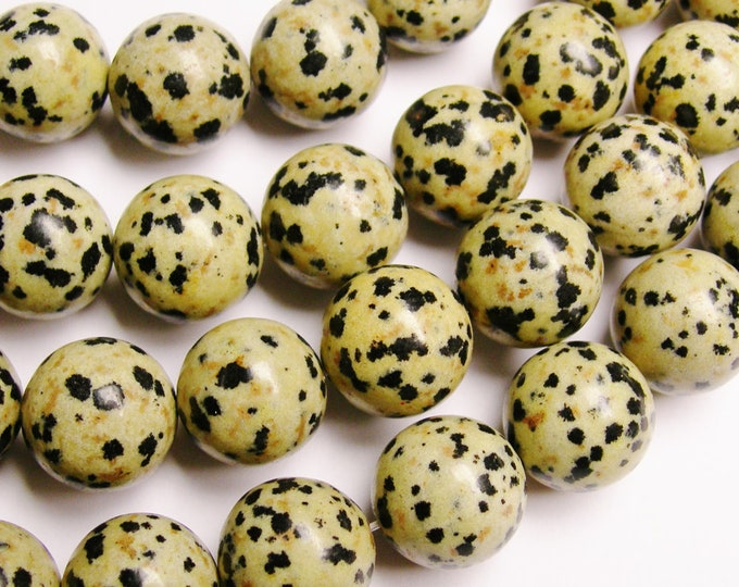 14mm Dalmatian jasper - full strand - 28 bead -  A quality - round - NRG163