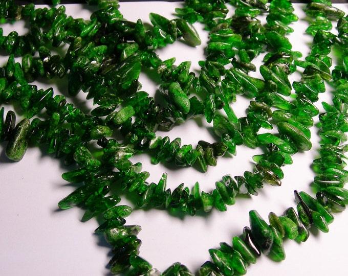 Chrome Diopside - 16 inch -  gemstone - chip stone - point  - big - 1 full strand - Green Diopside - NRG69