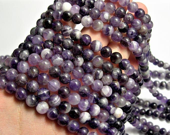 Amethyst - 8 mm round -  1 full strand - 48 beads - RFG73