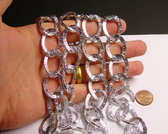 Silver chain  - lead free nickel free won't tarnish - 1 meter-3.3 feet  - made from aluminum - textured - NTAC31