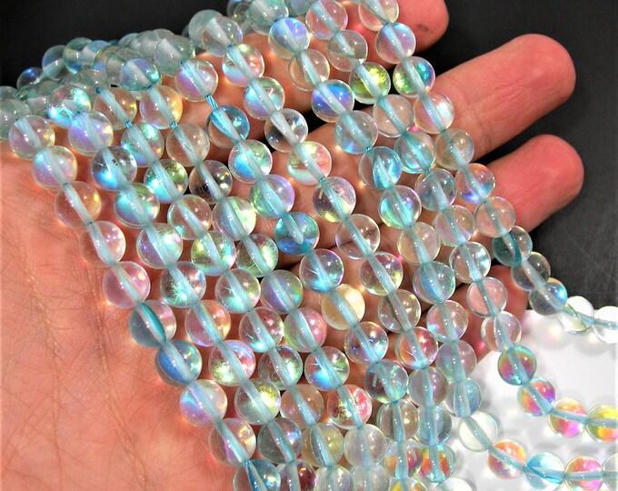 Mystic aura quartz - 8mm round - Holographic quartz - 48 Beads - light aqua Mystic aura - full strand - RFG1836