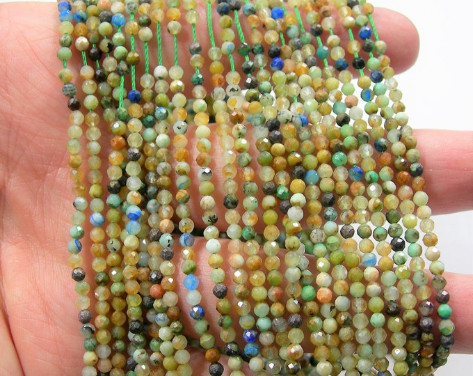 Chrysocolla  - 3mm ( 2.8mm) micro faceted round beads -  full strand - 140 beads - PG231