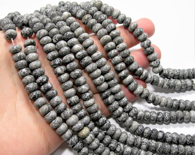 Picasso Jasper - 5mmx8mm rondelle - 74 beads - full strand strand - RFG1883